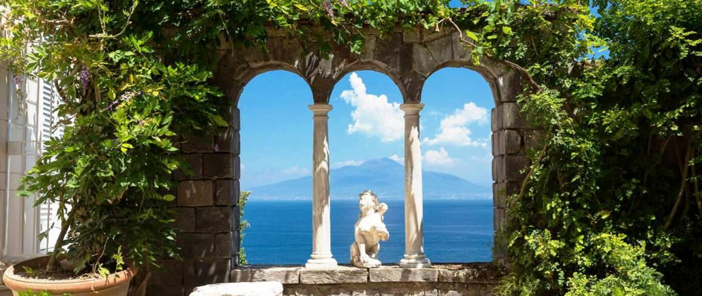 Sorrento wedding venue, pergola and historical window with sea-view