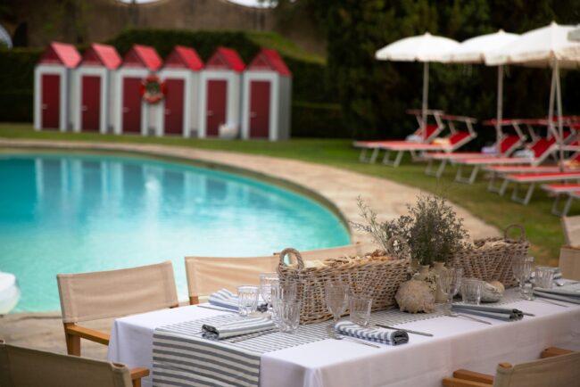 Wedding brunch along the pool