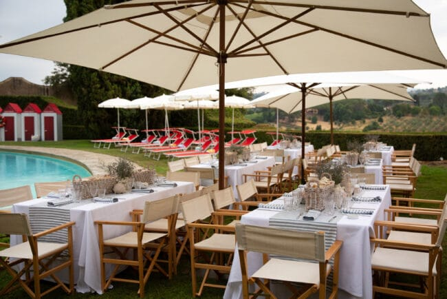 Wedding brunch tables with folding chairs