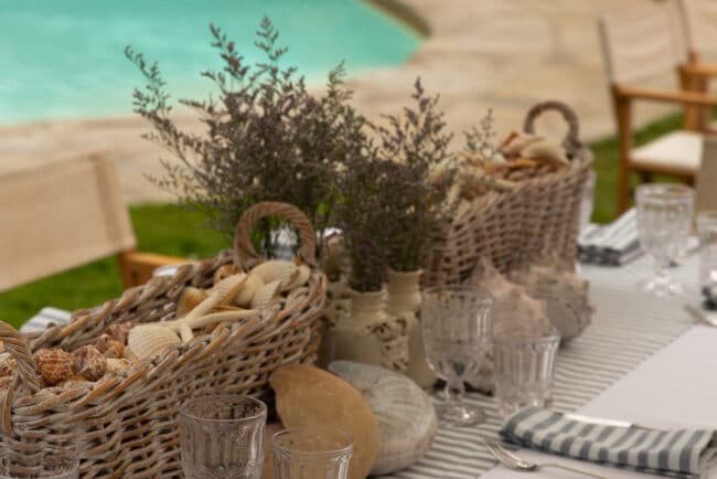Wedding brunch tables with shells