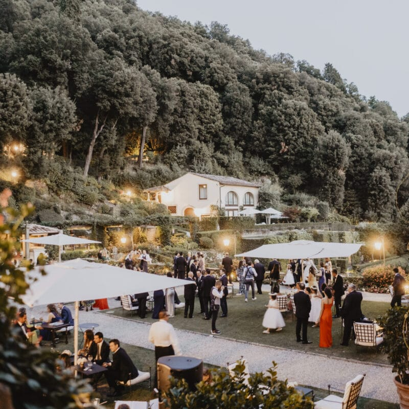 Wedding cocktail reception in a garden with Florence view