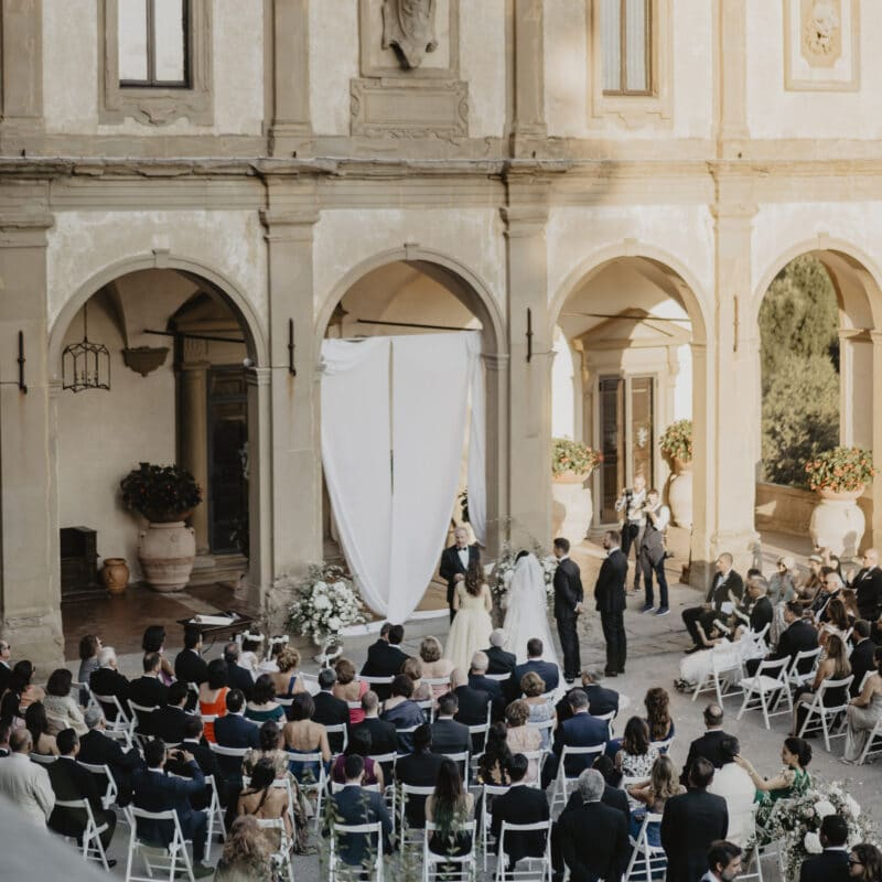 Outdoor ceremony in front of the villa in Florence