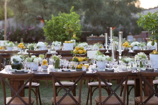 Tables decorated with lemons