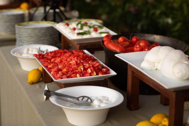 Mozzarella and tomatoes station