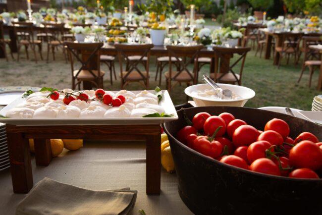 Street food italiano: mozzarella bar with cherry tomatoes