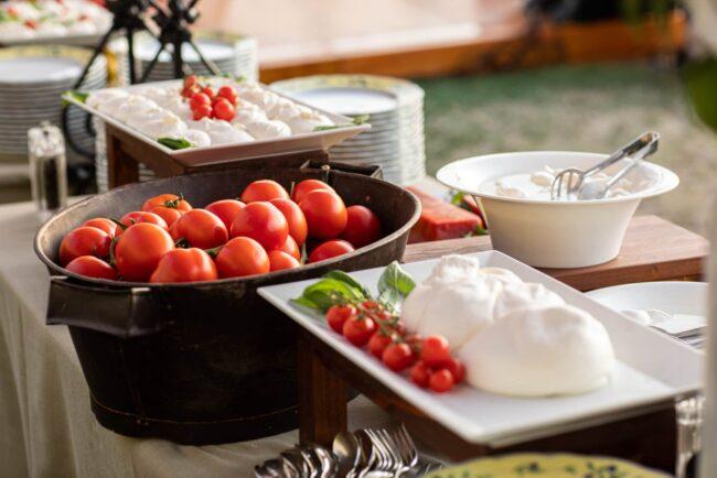 Tomatoes and mozzarella buffet