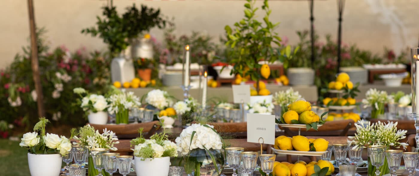 Buffet station and country-chic table setting