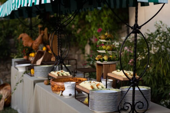 Cheese buffet station for welcome party in Tuscany