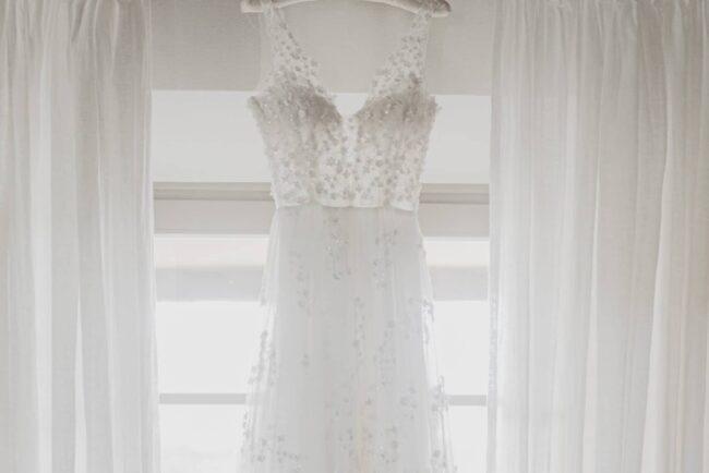 Bridal white wedding dress