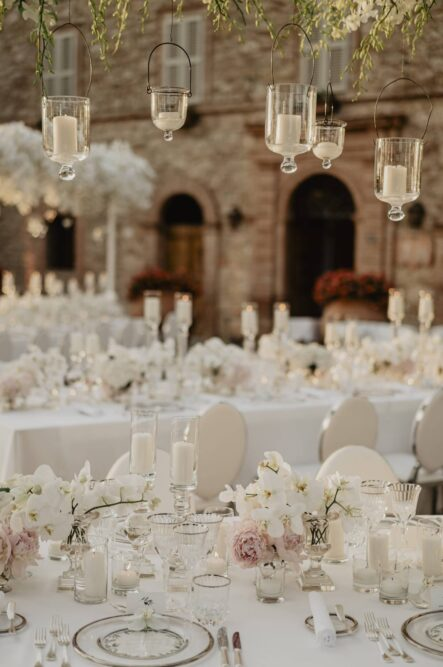 All white wedding party table decorations