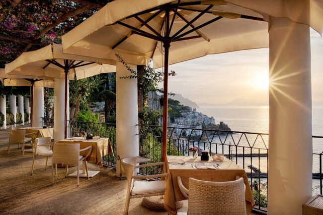 Sunset in Amalfi Coast, terrace with sea-view