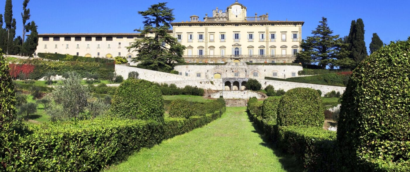 Villa in Chianti view from the italian style garden