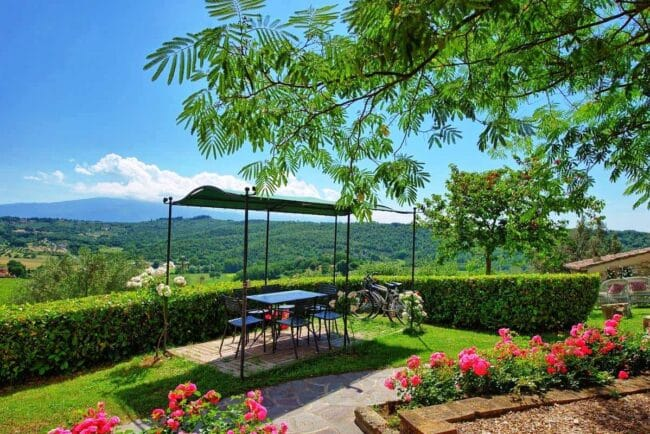 Terrace with view over the tuscan hills
