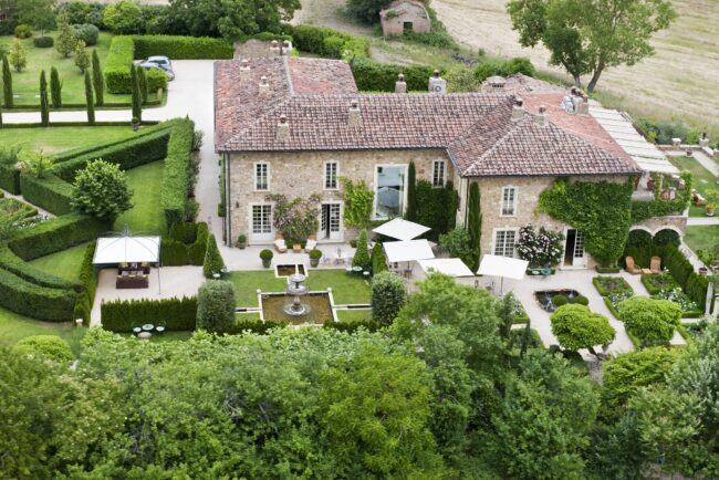Aerial view of the luxury hotel for weddings in Tuscany