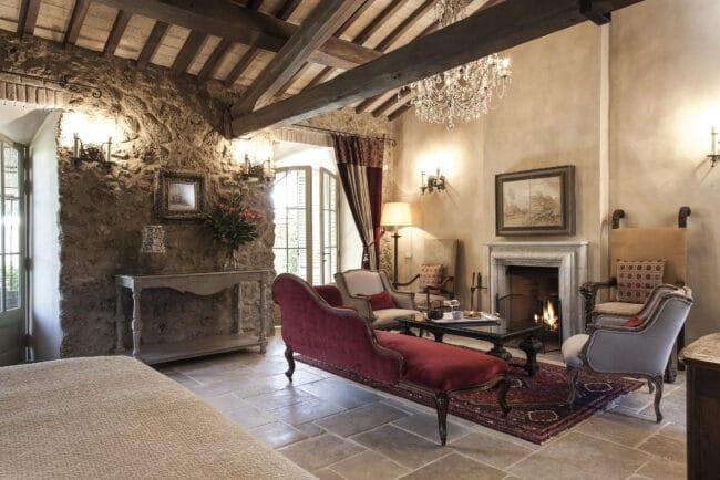 Elegant suite with red velvet sofa
