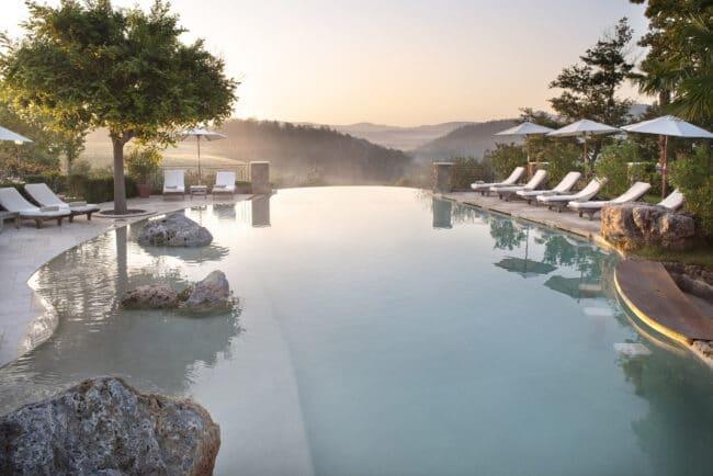Swimmingpool at the sunset