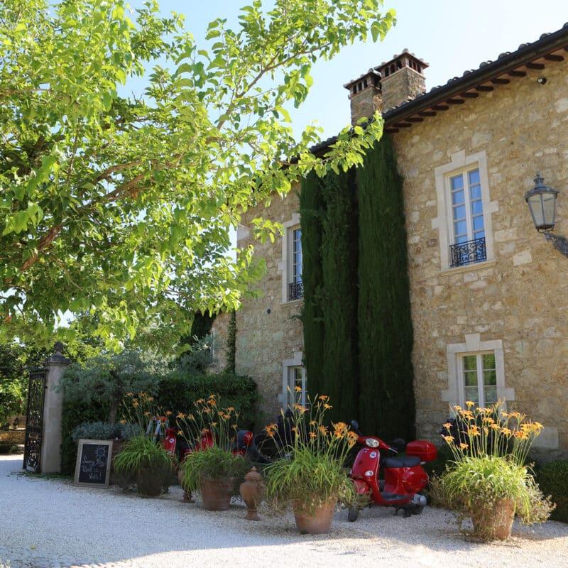 Entrance of wedding hotel in Tuscany