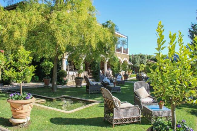 Garden with wicker sofas