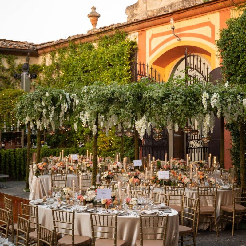 Romantic outdoor wedding setting in a villa